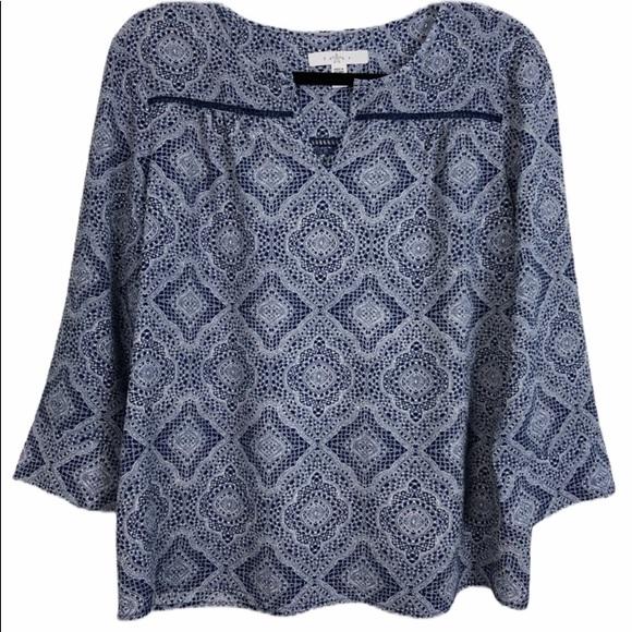 Fever Navy/White Open Crochet Trimmed Top Size M